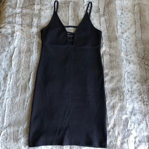 Topshop ribbed black mini dress